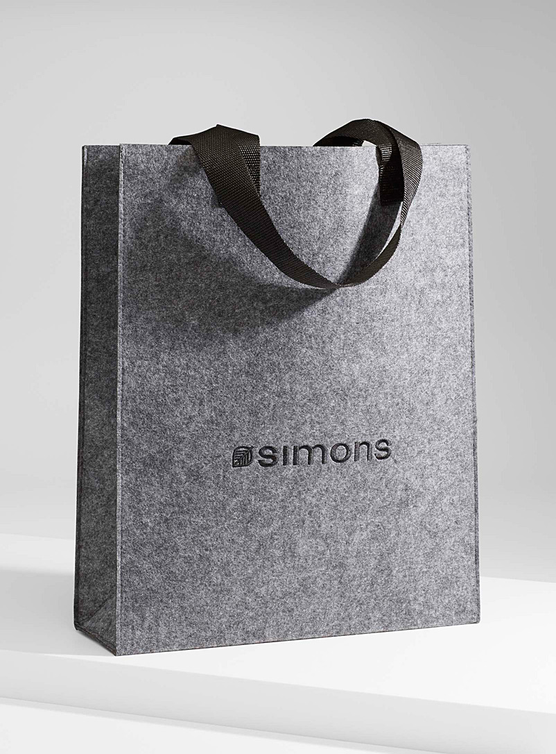 Simons Grey Recycled felt Simons logo tote for women