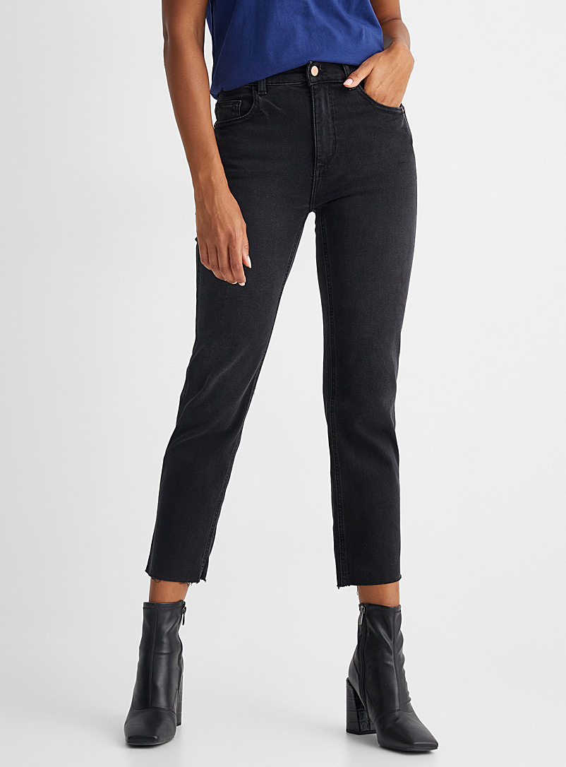 DL1961 Charcoal Black Patti straight cropped jean for women