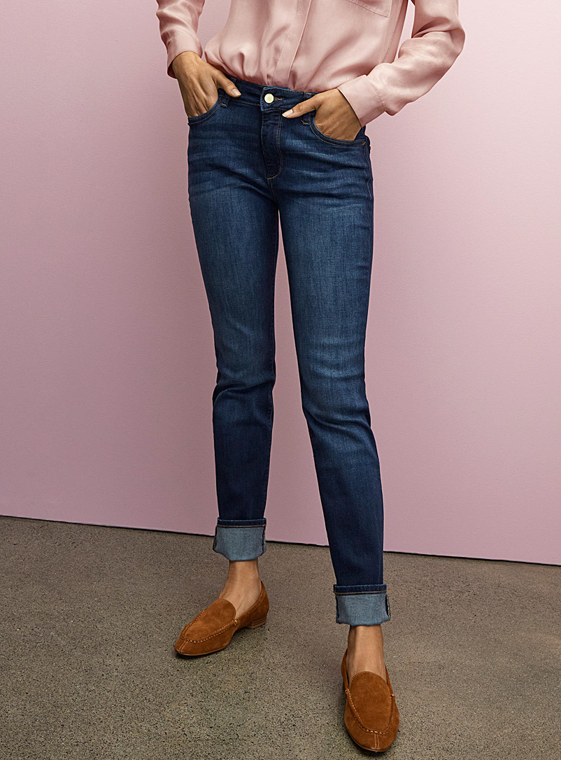 DL1961 Slate Blue Indigo Coco curvy straight jean for women