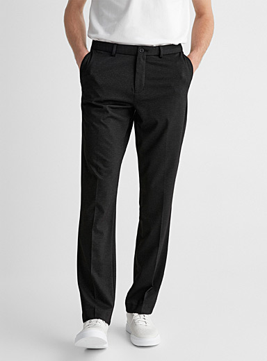 Contrasting piqué knit pant Straight, slim fit