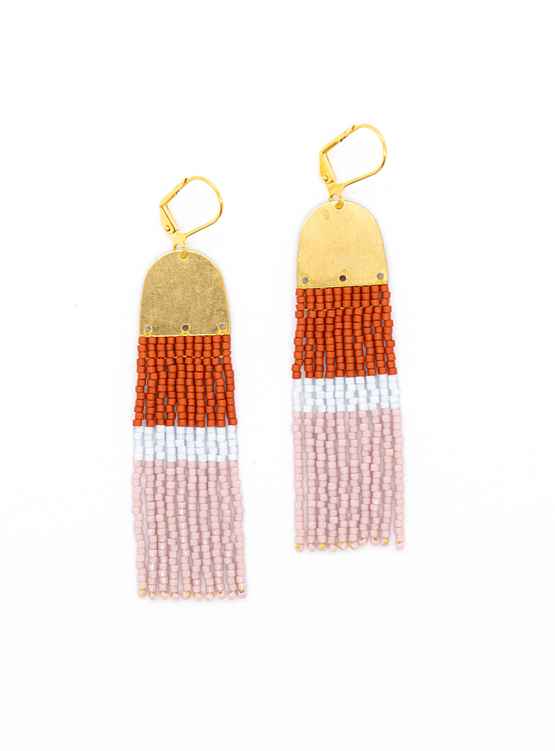 Three Sisters by Emma: Les boucles d'oreilles blocs terracotta et lavande Assorti