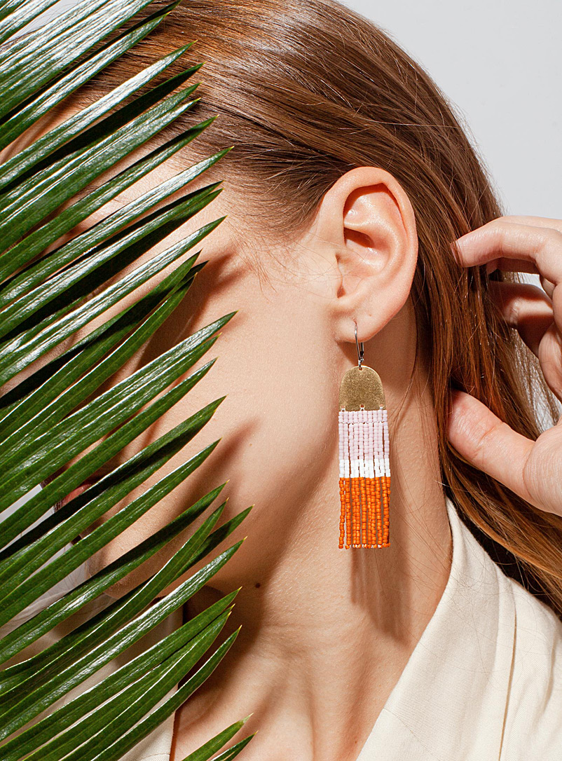 Three Sisters by Emma Assorted Lavender and burnt orange block earrings