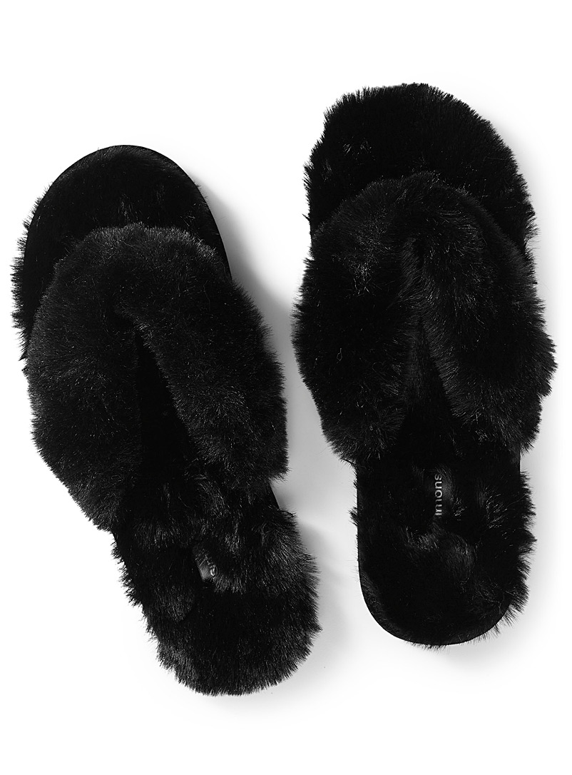 Faux-fur sandal slippers