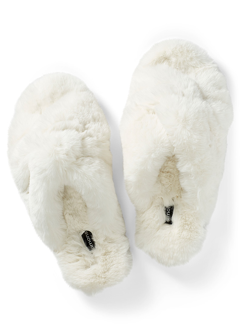 Miiyu Ivory White Plush crisscross slide slippers for women