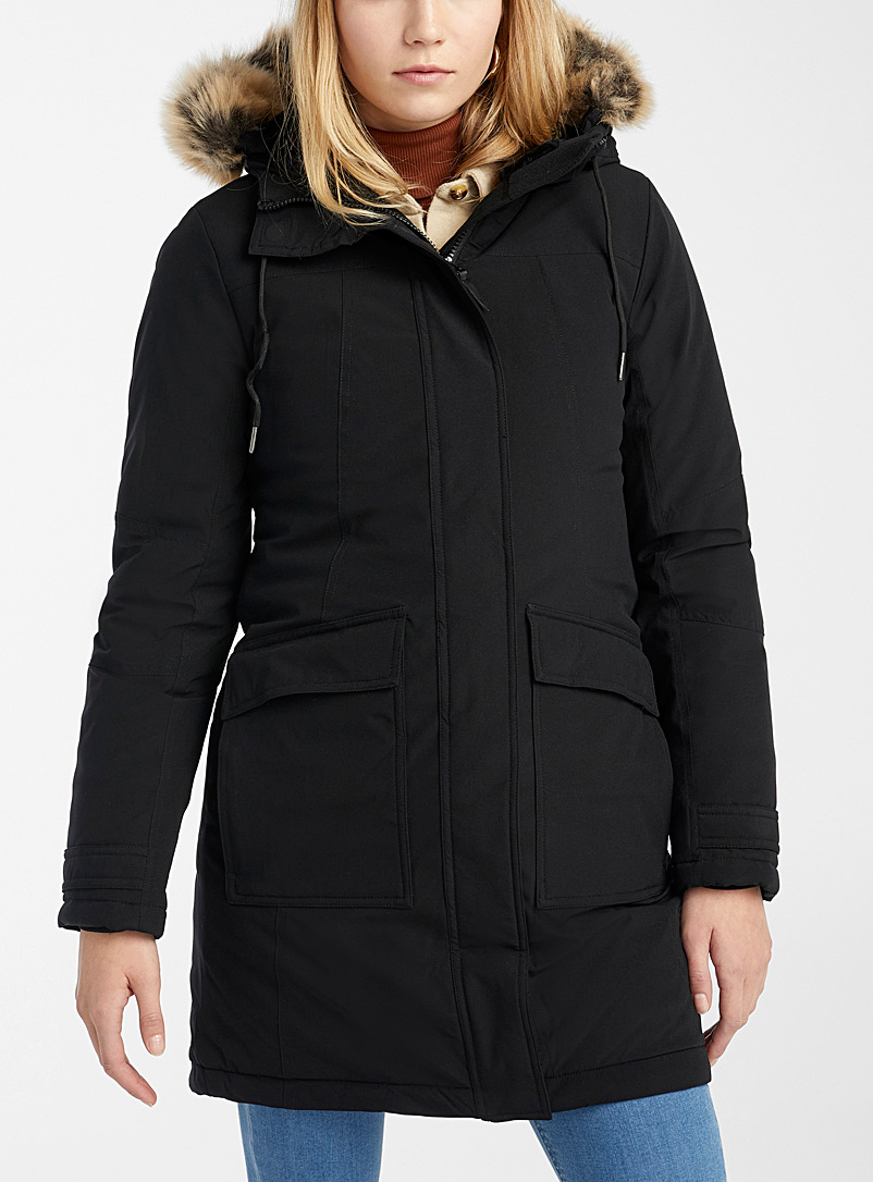 Twik Black Recycled polyester utility parka for women
