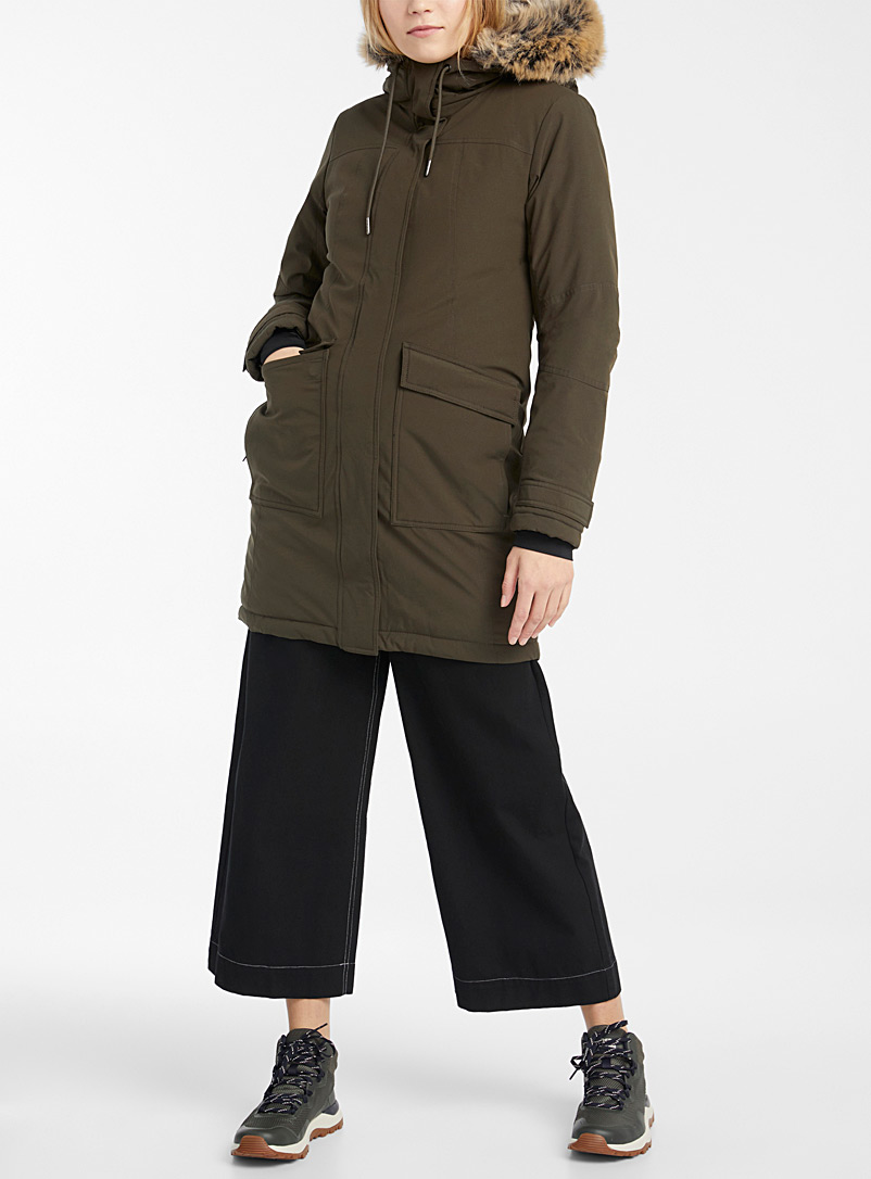 Twik Khaki Recycled polyester utility parka for women
