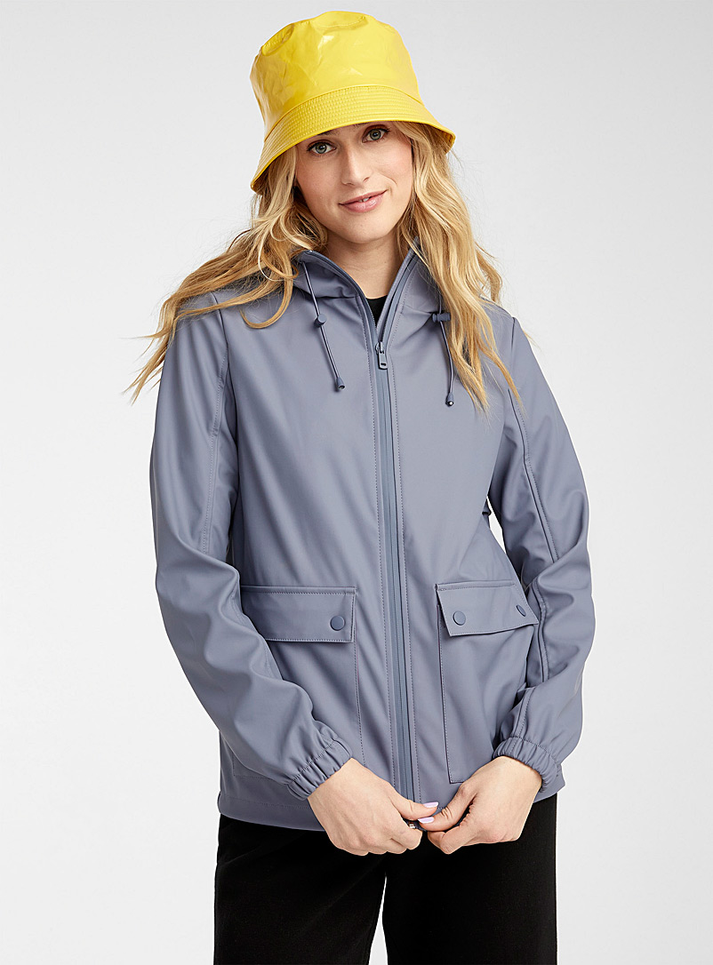Twik Slate Blue Solid rubber cropped raincoat for women