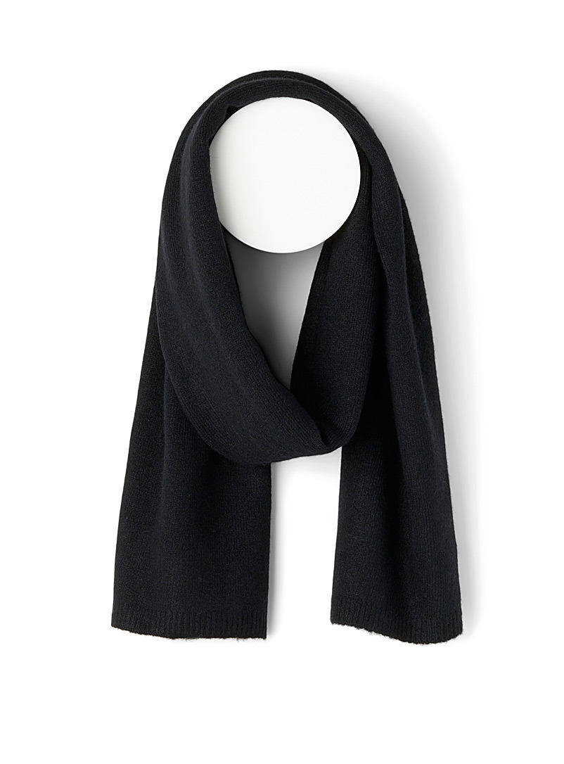 Simons Black Recycled fibre minimalist scarf for women