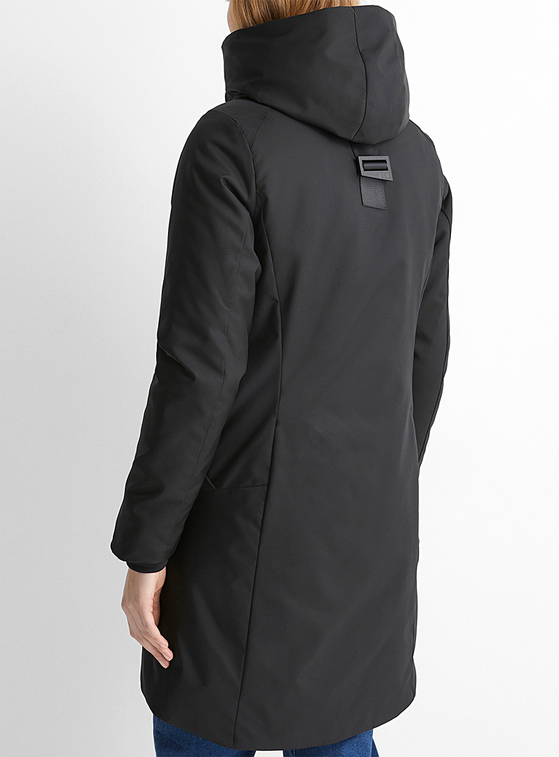 457 ANEW Black Regenerated nylon cocoon hood parka for women