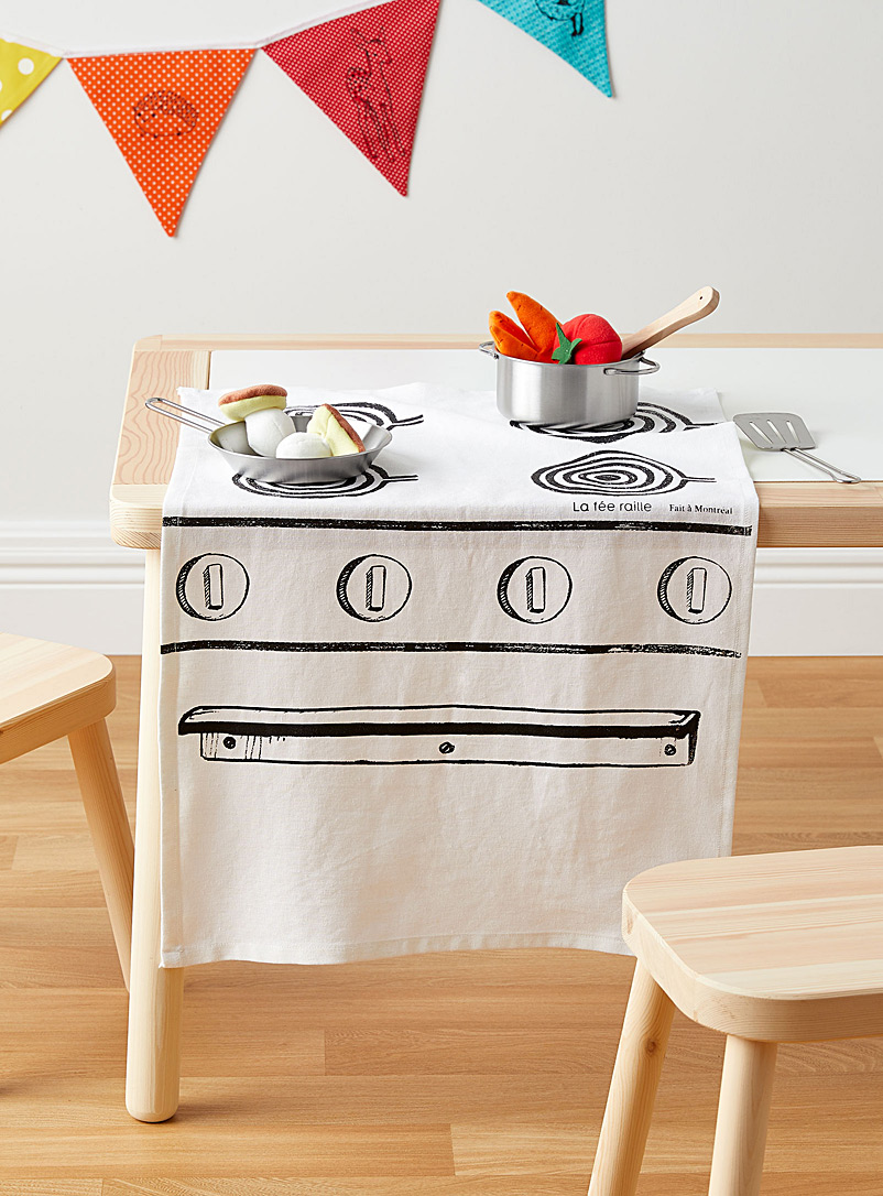 La fée raille Black and White Stove tea towel
