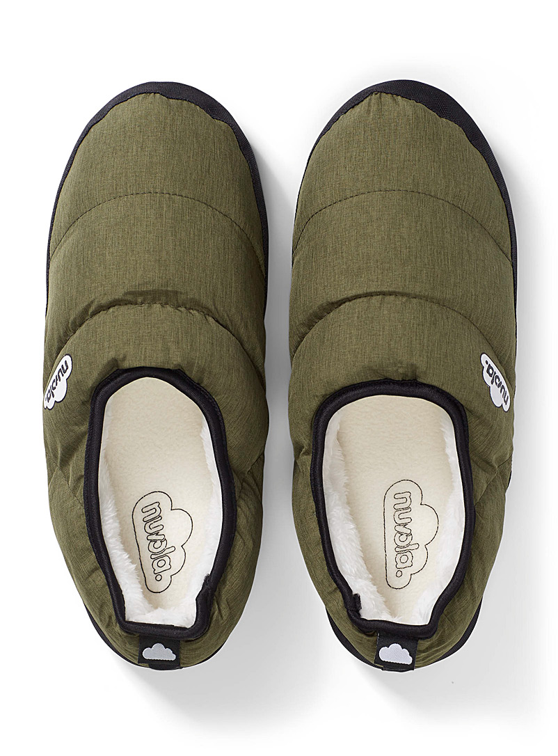 Nuvola Mossy Green Insulated quilted slippers  Men for men
