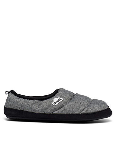 Marbled insulated quilted slippers Men