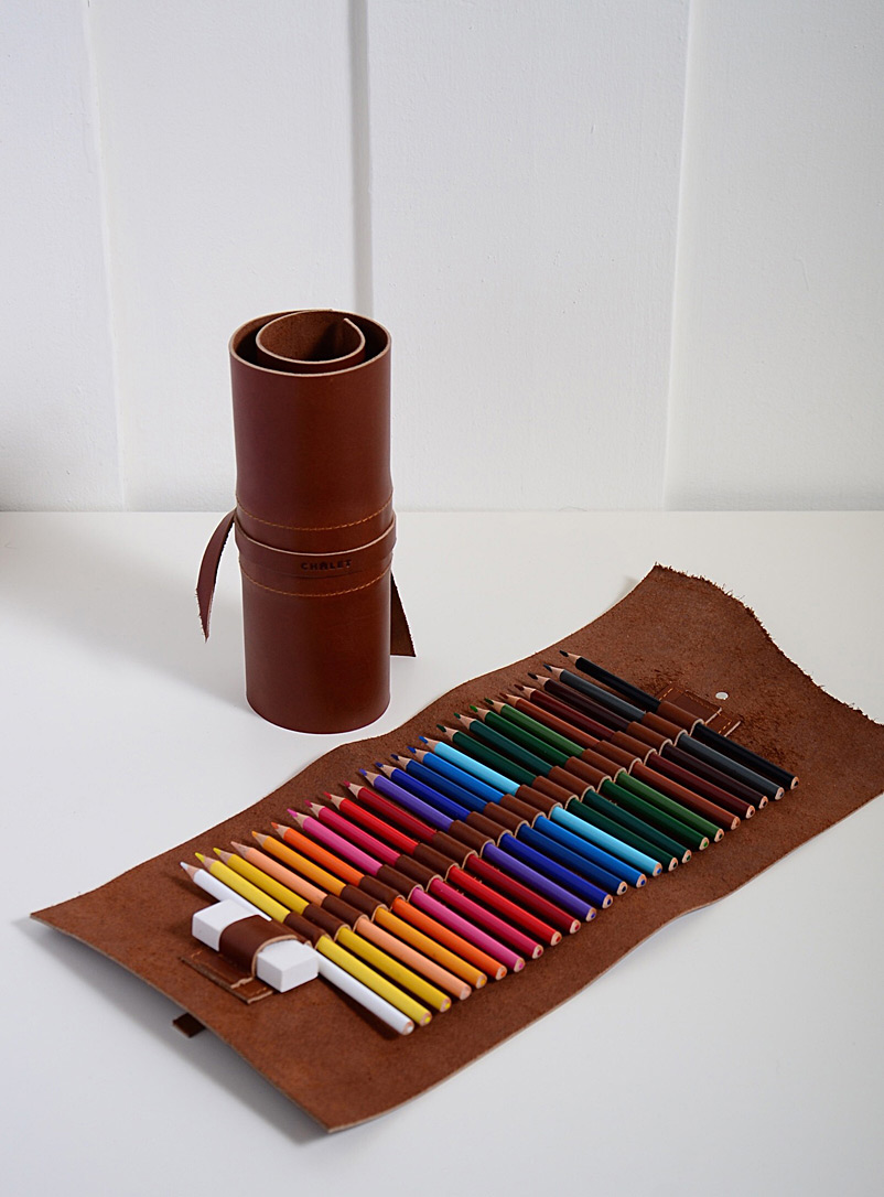 Atelier Chalet Brown Roll-up leather art supply kit