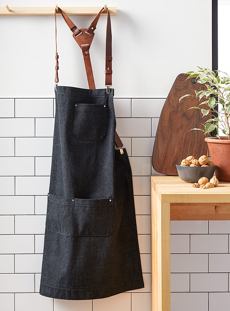 Atelier Chalet Marine Blue Denim and leather apron