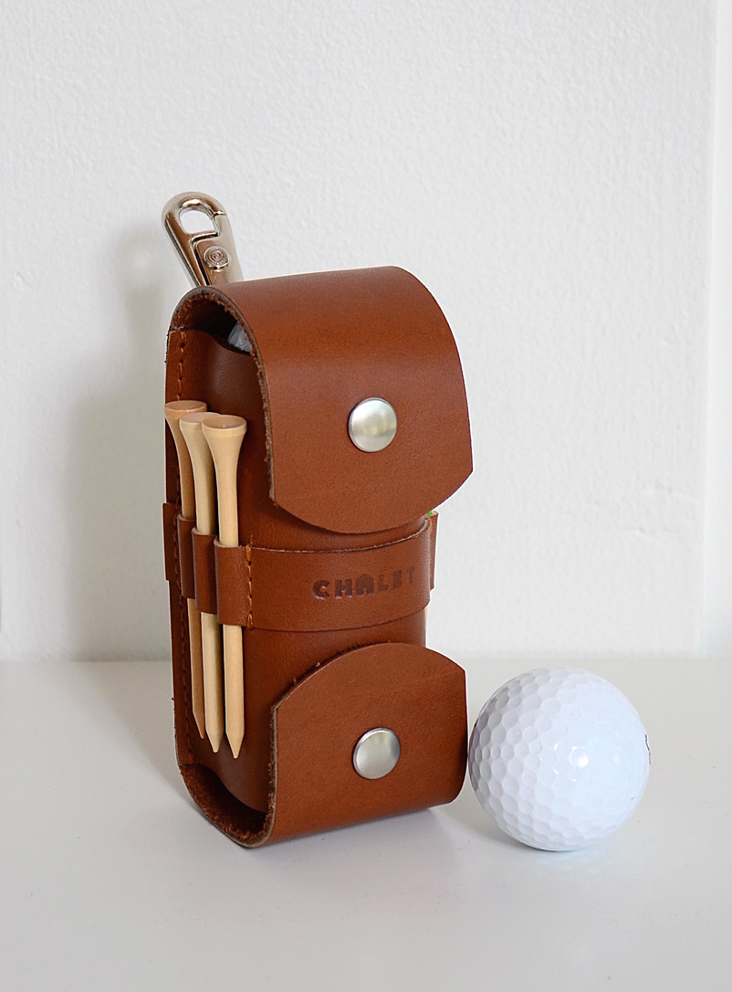 Atelier Chalet Brown Leather golfer's kit Includes 6tees and 3balls