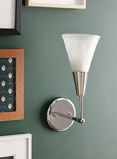 Boutiverre White Latte cone recycled blown glass wall sconce