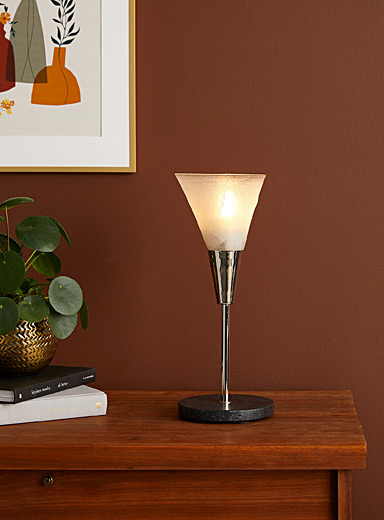 Latte granite-base recycled blown glass cone table lamp