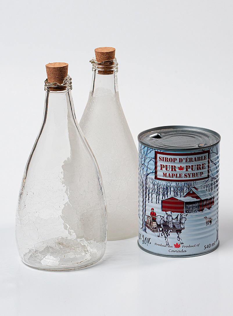 Boutiverre Opaque Crackled recycled blown glass maple syrup bottle