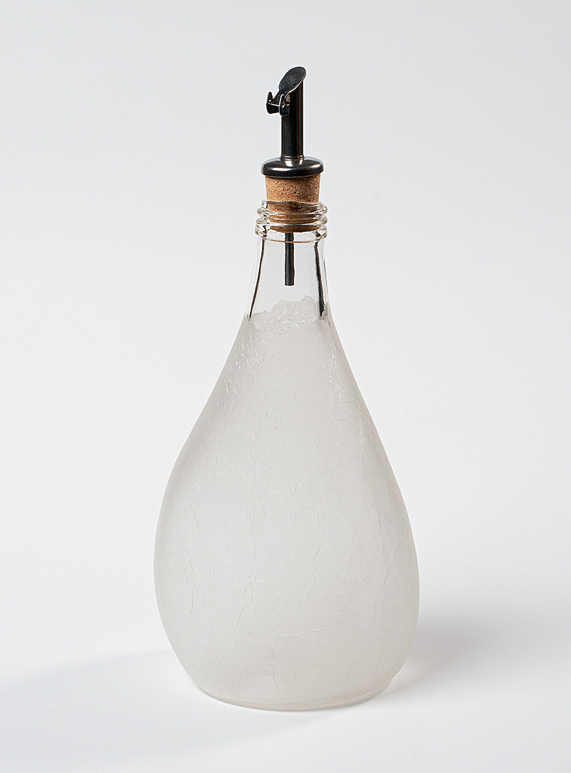 Boutiverre Opaque Crackled recycled blown glass oil bottle