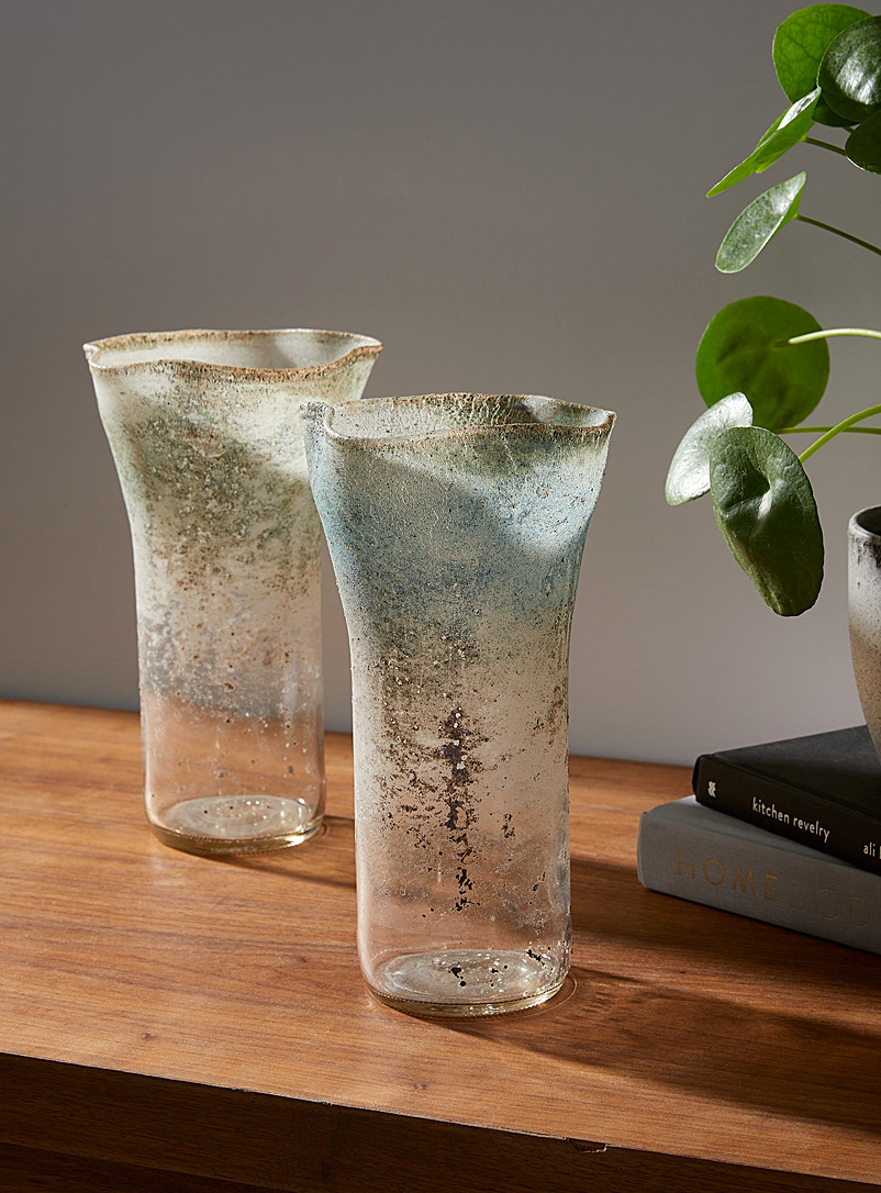 Boutiverre Ash Grey Ash grey recycled blown glass vase  25.5 cm high