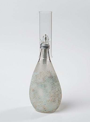 Small ash grey recycled blown glass oil lamp