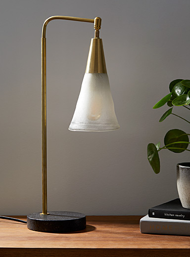 Latte cone granite-base recycled blown glass swivel table lamp