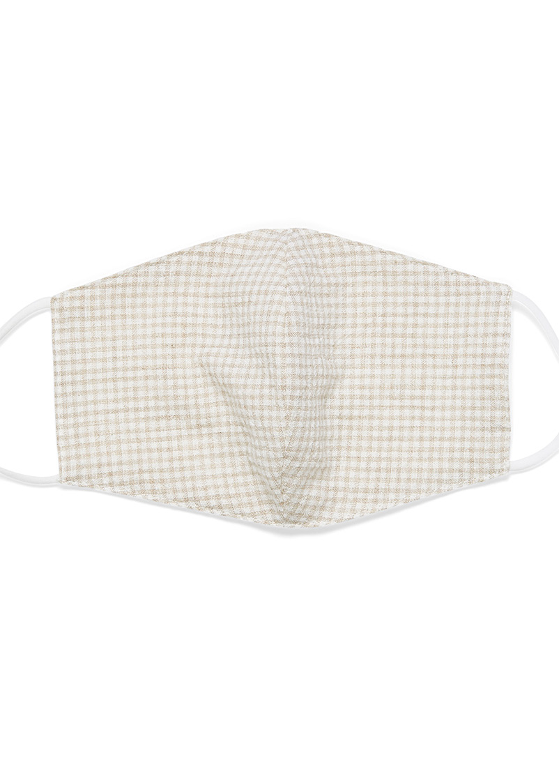 Simons Cream Beige Gingham fabric face mask for women