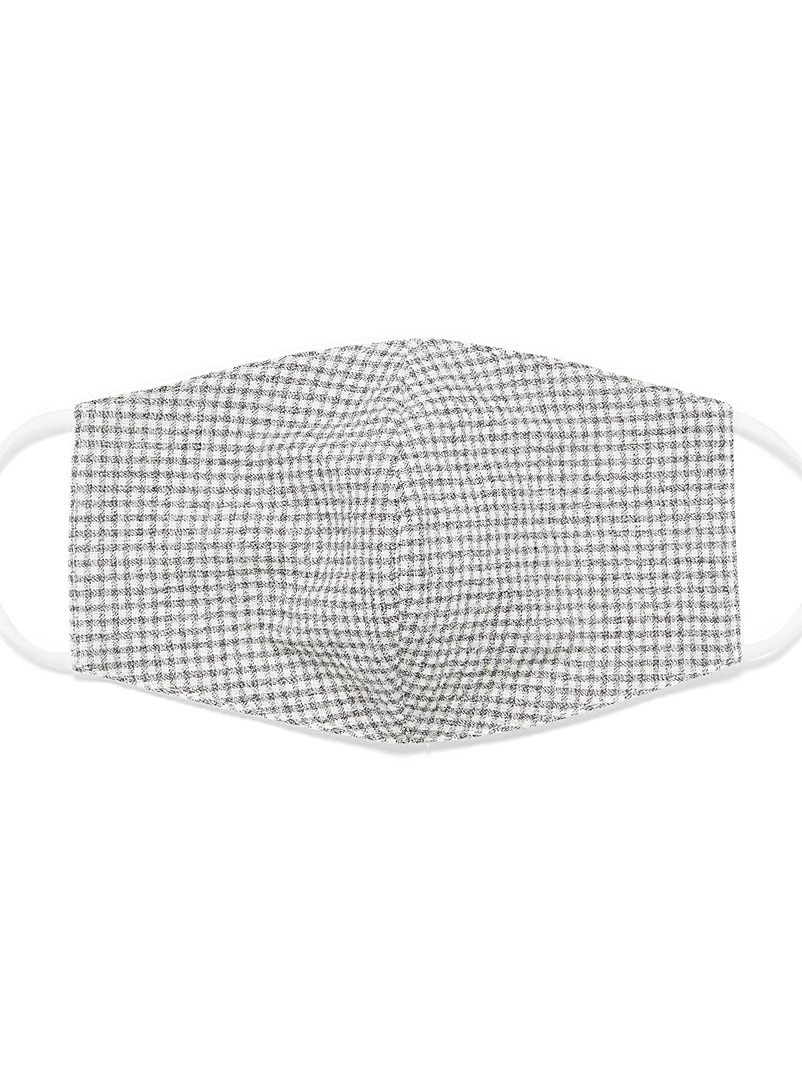Simons Assorted grey  Gingham fabric face mask for women