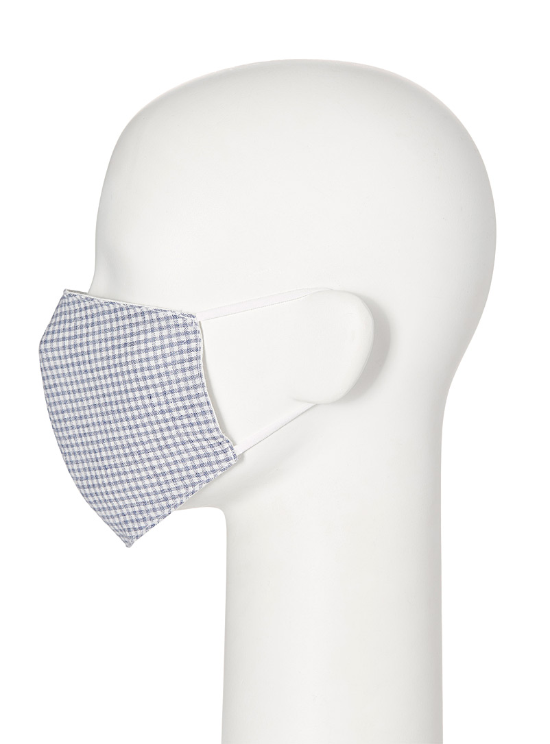 Simons Patterned Blue Gingham fabric face mask for women