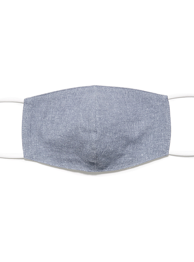Simons Marine Blue Cotton-linen fabric face mask for women