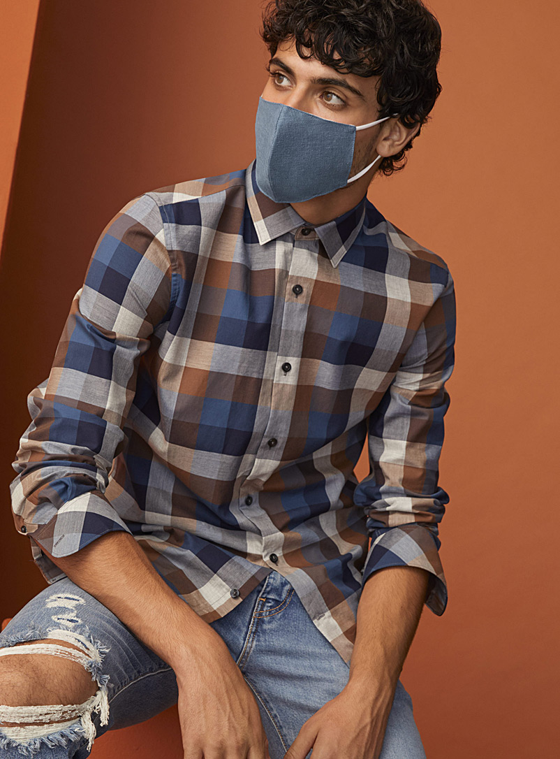 Le 31 Blue Denim face mask for men