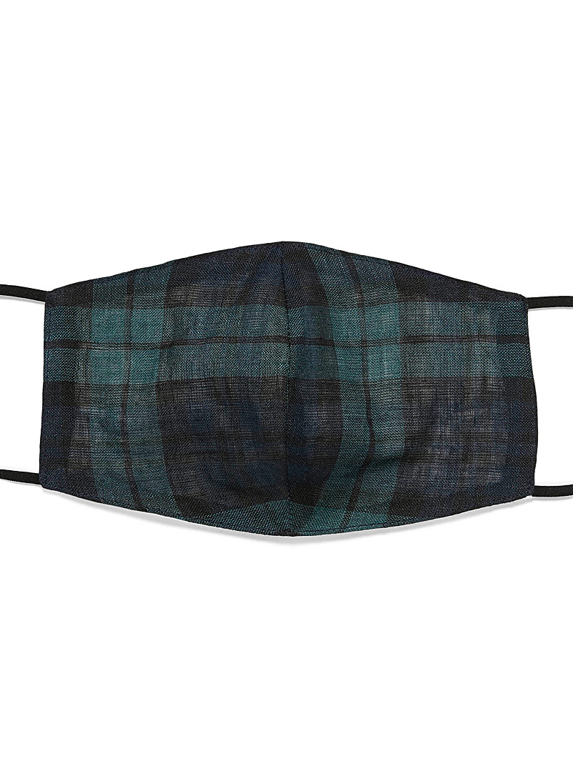 Le 31 Patterned Blue Tartan fabric face mask for men