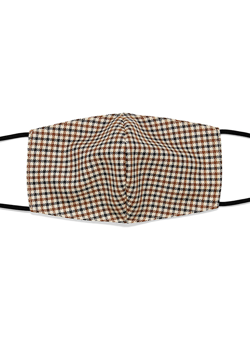 Le 31 Patterned Brown Heritage gingham mask for men