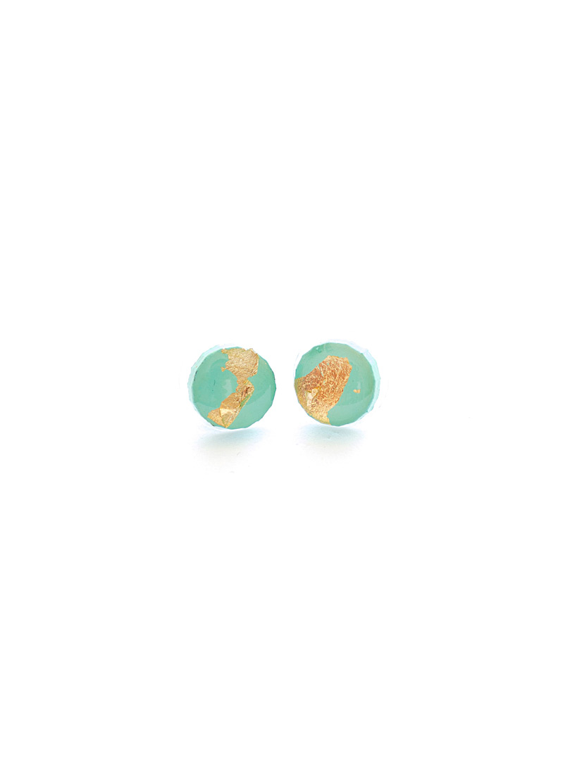 Collage Teal Gold leaf round earrings