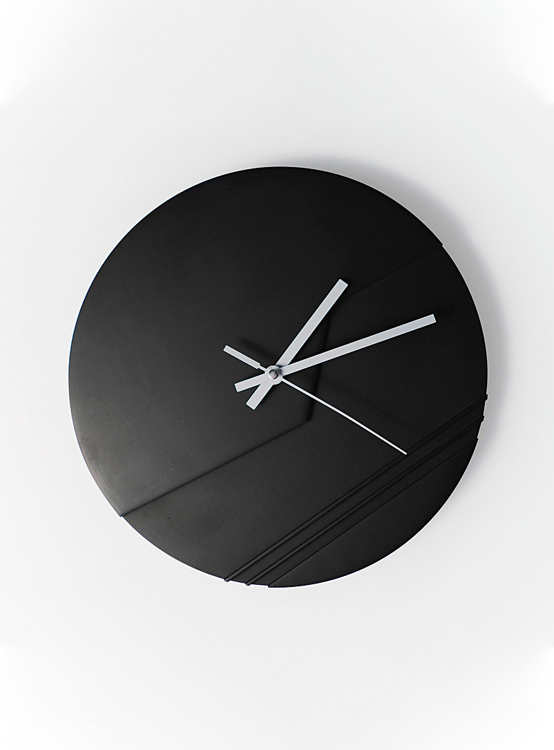 Collage Black Raw circle clock
