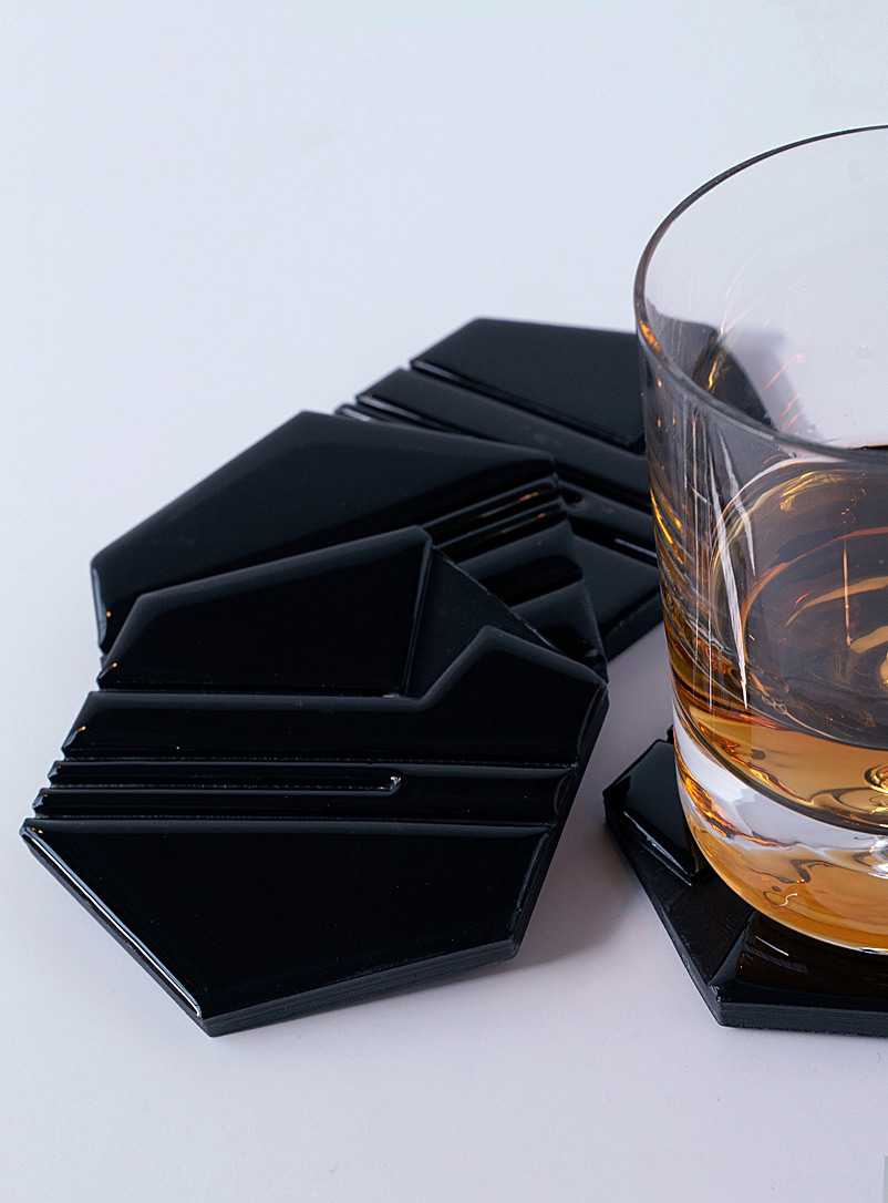 Raw hexagon coasters  Set of 4