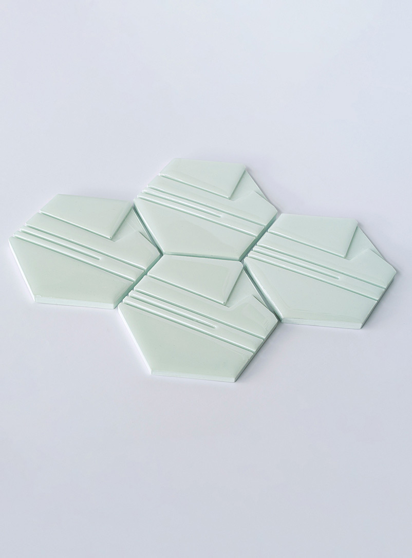 Collage Lime Green Raw hexagon coasters  Set of 4