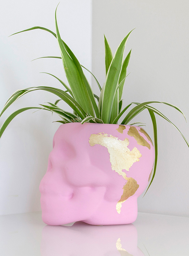 Gold leaf skull planter