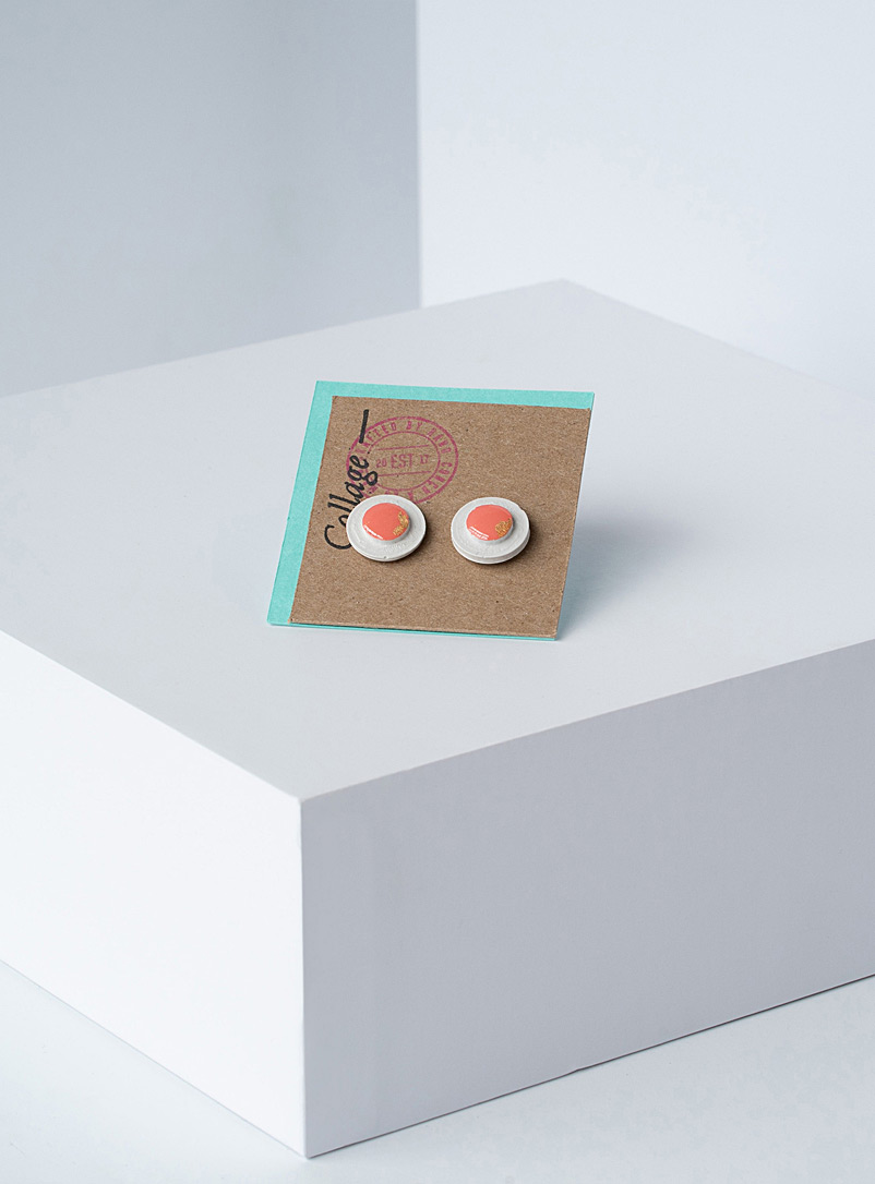 Raw beauty disc earrings
