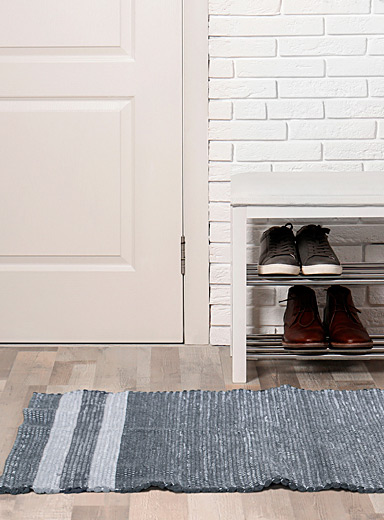 Accent stripe recycled fabric rug 2 sizes available