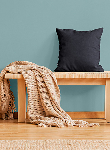 Square cotton fleece ethically-sourced cushion 41.5 x 44.5 cm