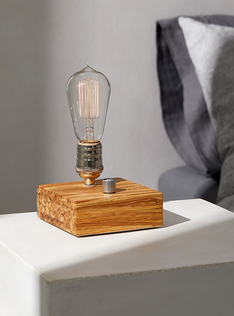 East Van Light Bamboo Industrial upcycled chopstick block table lamp