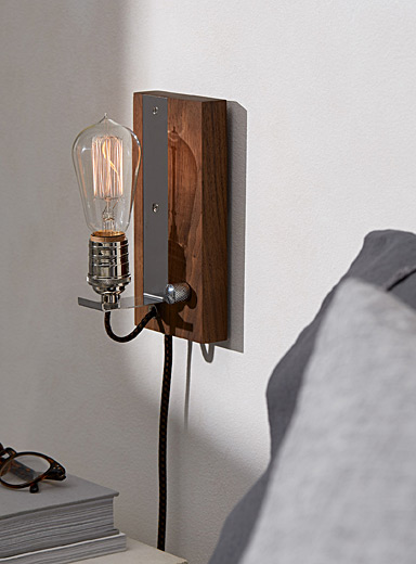 East Van Light Walnut Wood Plug-in vintage sconce