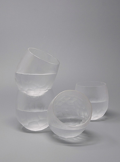 Frosted facet glasses  Set of 4