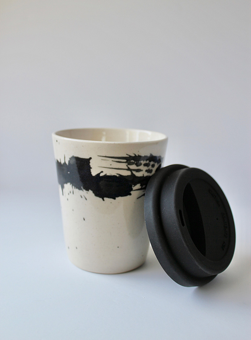 JAW Pottery Black Splash of joy stoneware travel cup 8 oz.