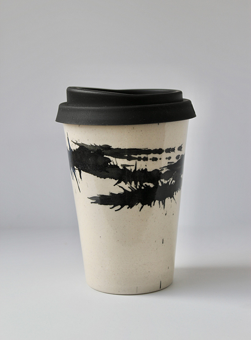 JAW Pottery Black Splash of joy stoneware travel cup 12 oz.