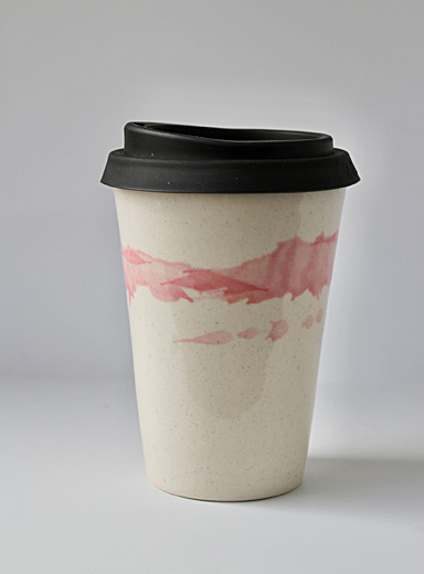 JAW Pottery Pink Splash of joy stoneware travel cup 12 oz.