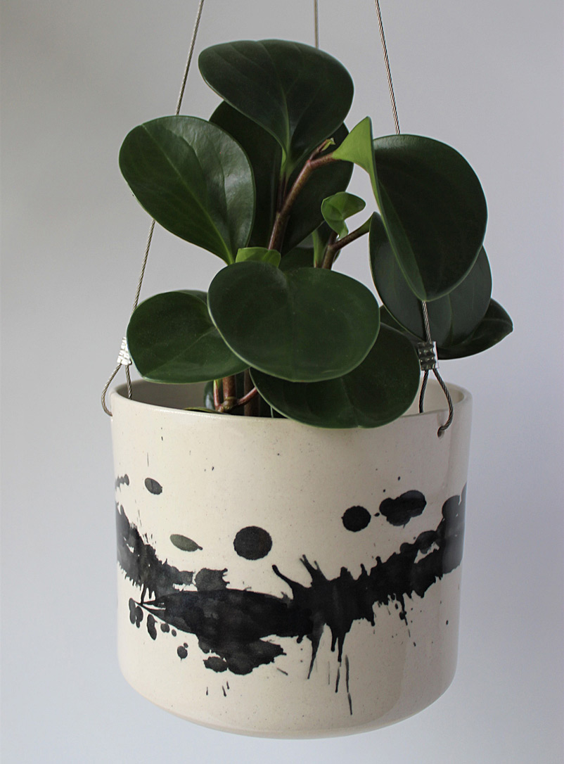 JAW Pottery Black Splash of joy stoneware hanging planter