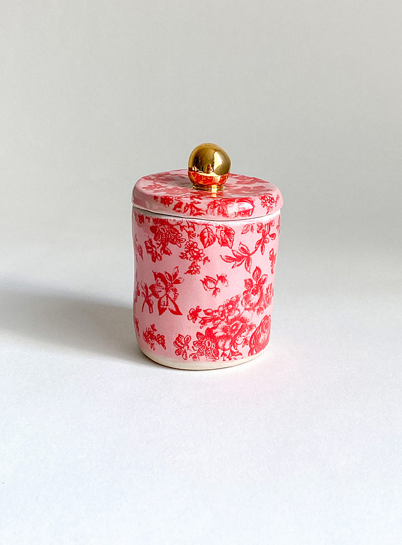 Meg Does Pottery Red Life in pink small ceramic stash jar