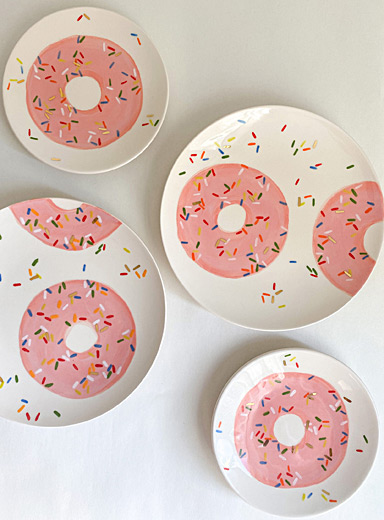 Meg Does Pottery Pink Sweet donut ceramic plates  Set of 4